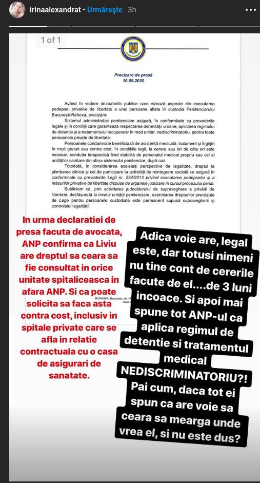 Irina Tanase acuza ANP ca ii incalca drepturile lui Liviu Dragna in inchisoare